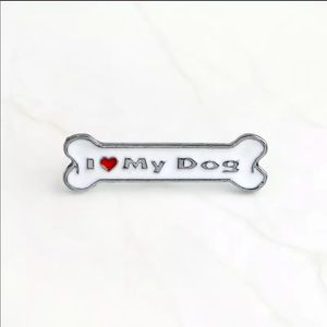 I Love My Dog Silver Enamel Dog Bone Pin